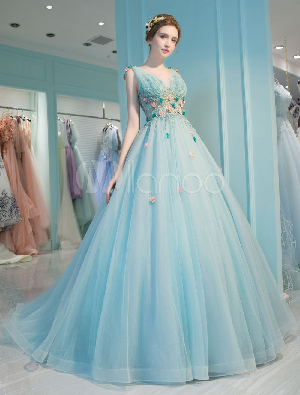 Princess Quinceanera Dresses Luxury Backless V Neck Flowers Illusion Teal Tulle Pageant Dresses With Train