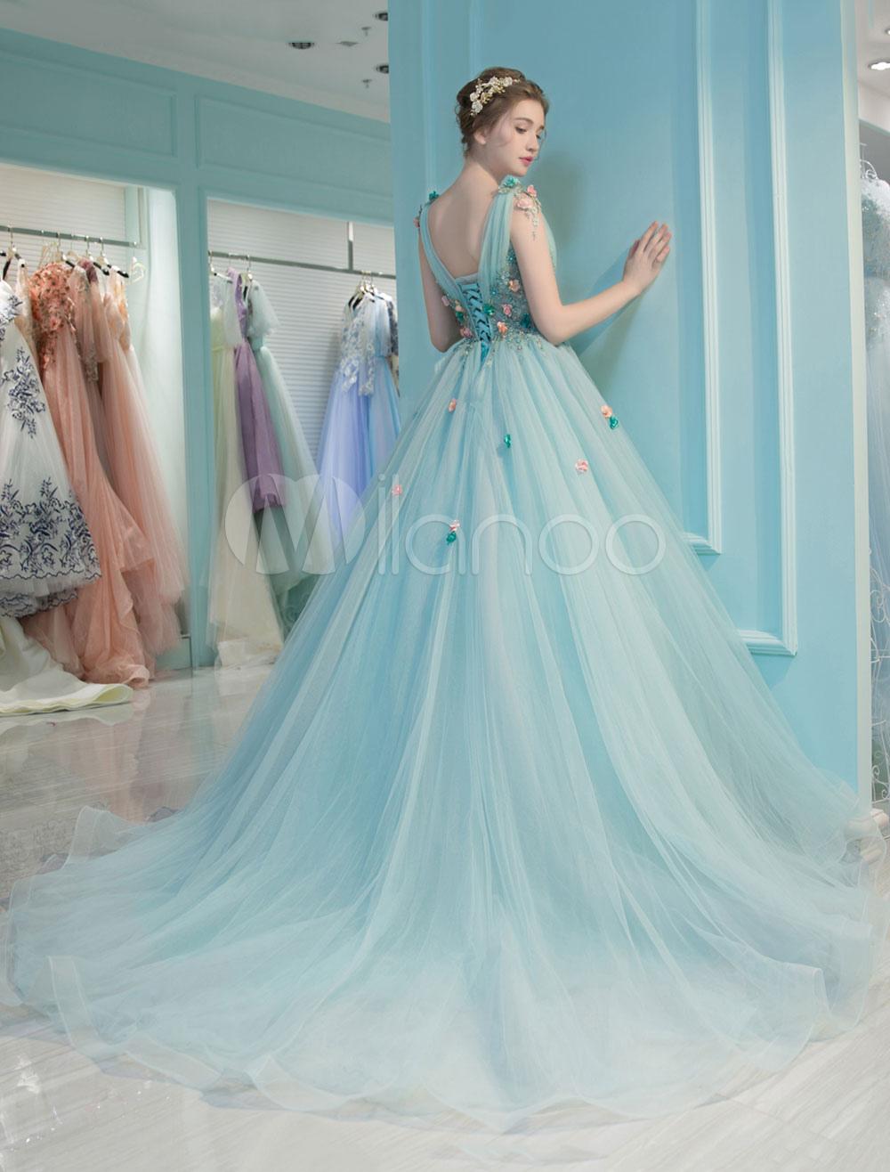 Prinzessin Quinceanera Kleider Luxus Backless V Neck Blumen Illusion ...
