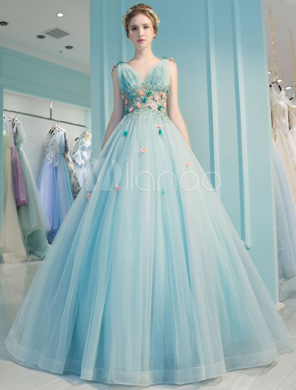 Princess Quinceanera Dresses Luxury Backless V Neck Flowers Illusion ...