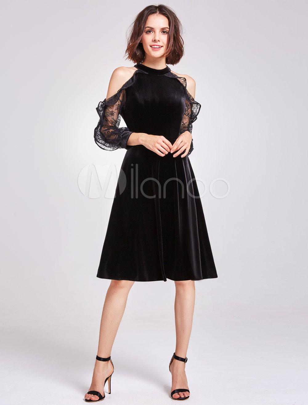 Little Black Dresses Short Velvet Halter Cold Shoulder Long Sleeve Illusion Knee Length Cocktail Dresses