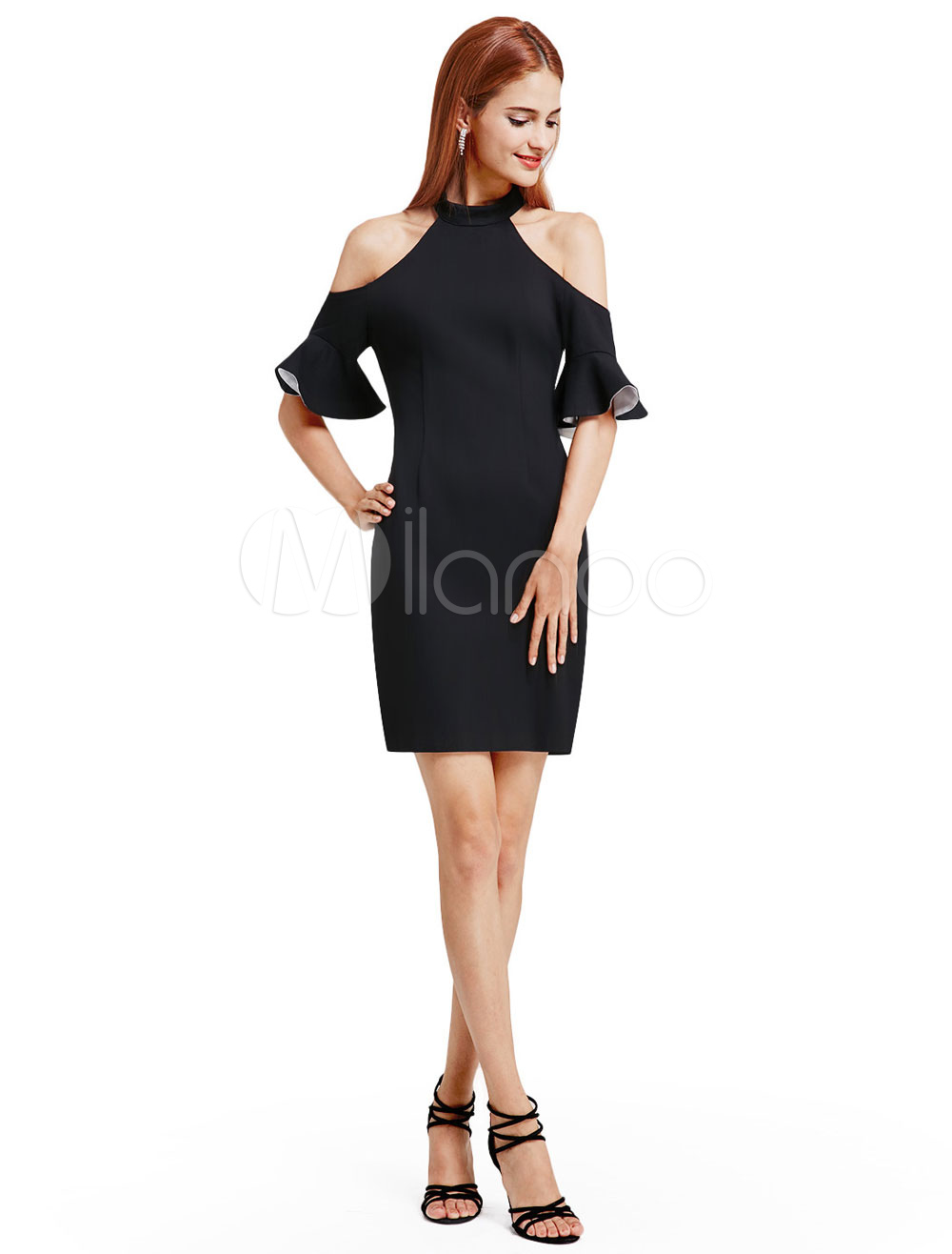 Buy Little Black Dresses Short Halter Cold Shoulder Sheath Bell Sleeve Mini Cocktail Party Dresses for $87.99 in Milanoo store