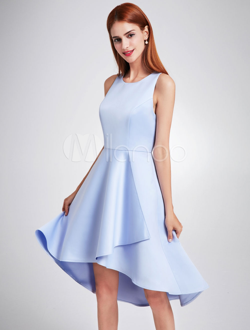 Short Bridesmaid Dresses Satin Baby Blue High Low Sleeveless Knee ...