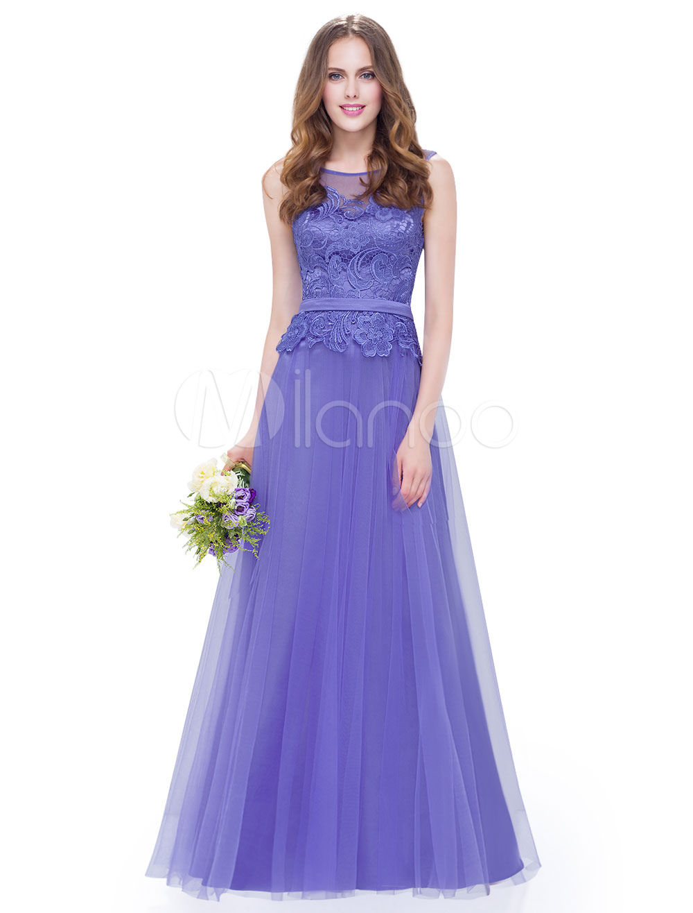 Violet Bridesmaid Dresses Long Lace Tulle A Line Peplum Wedding ...