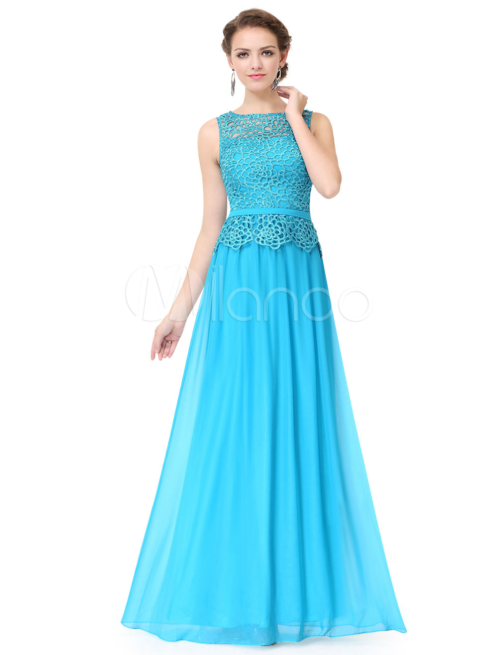Blue Mother Of The Bride Dresses Long Chiffon Lace Hollow Out ...