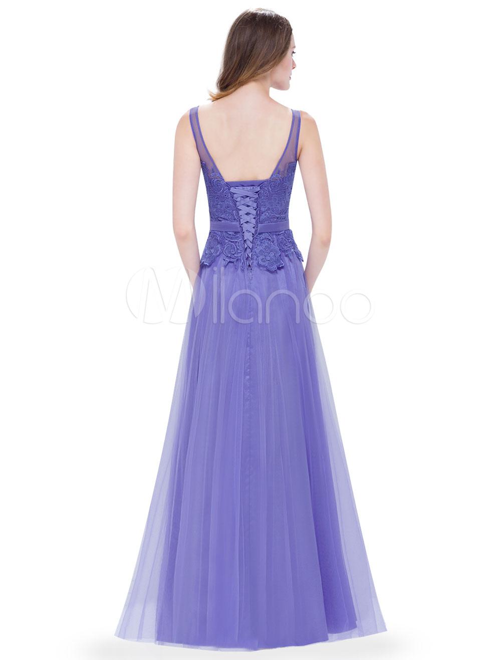 Vestido de Dama de Honor Largo de línea A De banda de encaje de ...