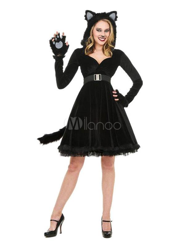 Gatto Con Costume Il Vestito Donna Del Da Carnevale Di Nero 5xFwnP8