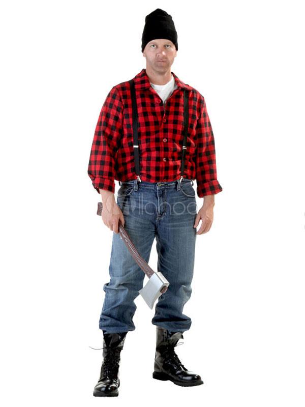 Halloween lumberjack costume mens dark red shirt with hat milanoo halloween lumberjack costume mens dark red shirt with solutioingenieria Gallery