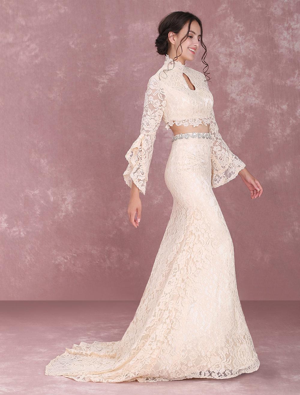 Champagner Brautkleider Spitze zwei Stück lange Ärmel hohen Kragen ...