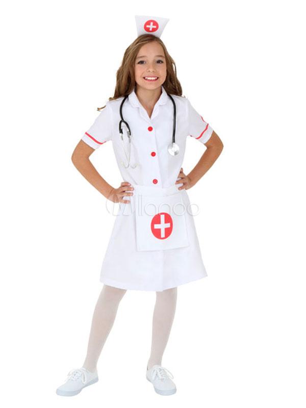 Halloween Costume Girls Nurse White Set In 3 Pcs