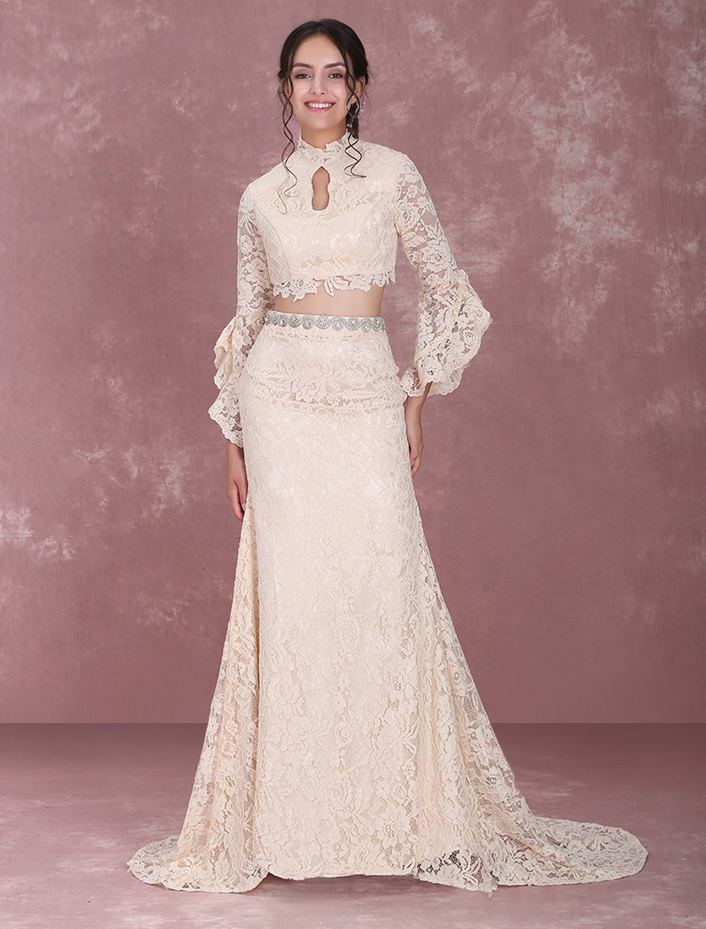3dc6a4c8ae25 ... Champagne Wedding Dresses Lace Two Piece Long Sleeve High Collar Cutoff  Mermaid Bridal Gown With Train ...