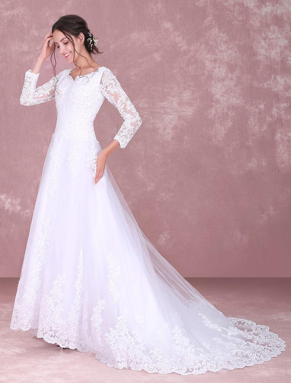 Blanco Vestidos de novia de encaje de manga larga rebordear vestido ...