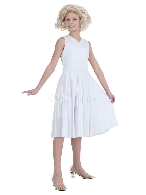 Marilyn Monroe Cosplay Girls' Halloween Costume White Dress