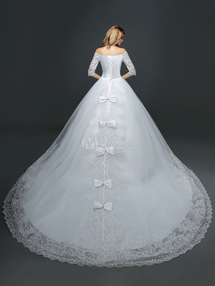 Princess Wedding Dresses Off The Shoulder Half Sleeve Lace Applique ...