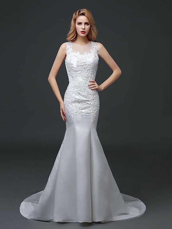 Buy Mermaid Wedding Dresses Lace Applique Satin Wedding Gown Beading Illusion Chapel Train Bridal Dress for $118.79 in Milanoo store