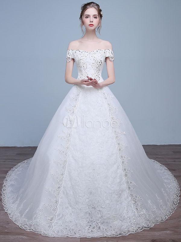 Princess Wedding Dresses Off The Shoulder Bridal Dress Beading ...