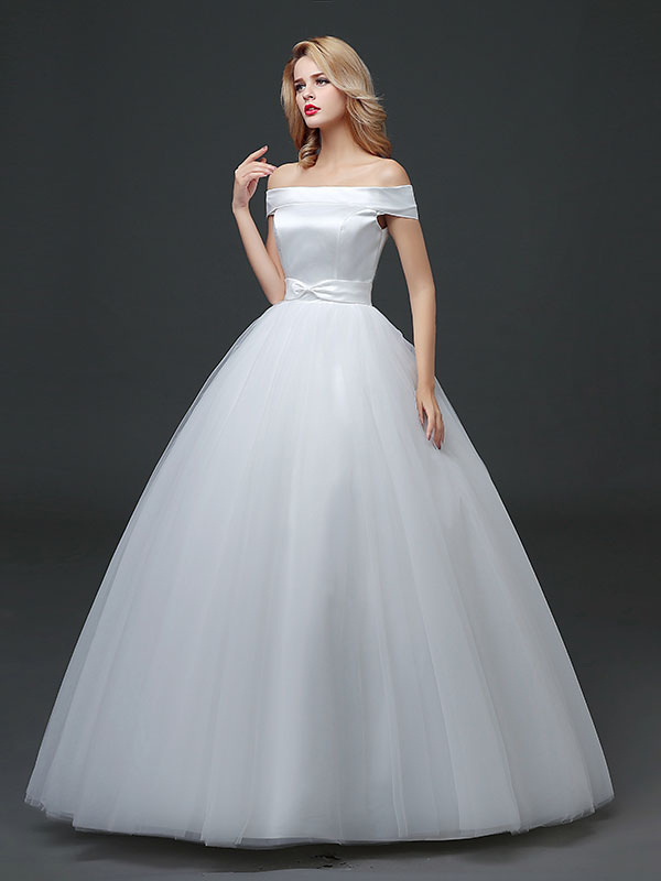 Princess Wedding Dresses Off The Shoulder Satin Tulle Bridal Dress ...