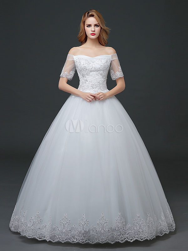 Buy Princess Wedding Dresses Off The Shoulder Sequins Half Sleeve Lace Applique Ivory Floor Length Bridal Gown for $105.59 in Milanoo store