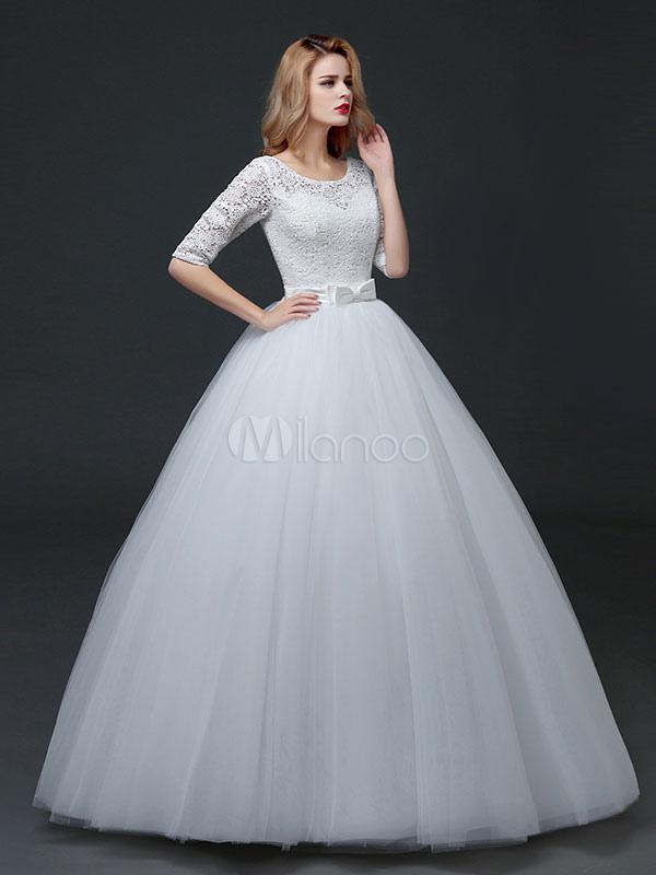 Princess Wedding Dresses Half Sleeve Backless Bridal Dress Lace ...