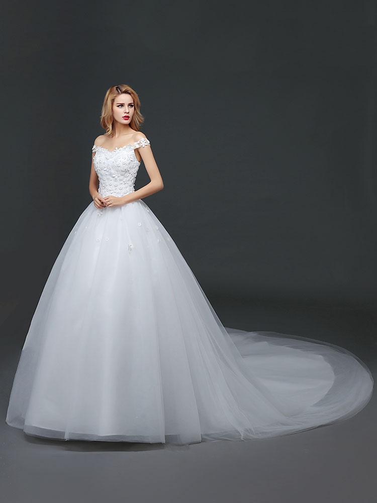 Princess Wedding Dresses Off The Shoulder Lace 3D Flowers Applique ...