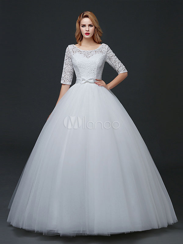 Buy Princess Wedding Dresses Half Sleeve Backless Bridal Dress Lace Tulle Bow Sash Maxi Floor Length Bridal Gown for $105.59 in Milanoo store