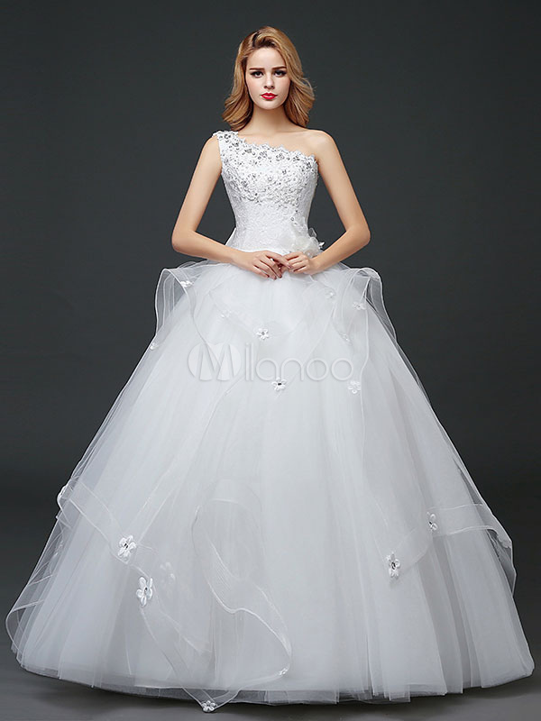Buy Princess Wedding Dresses One Shoulder Ivory Beading Flowers Bows Tulle Tiered Maxi Floor Length Bridal Gown for $104.99 in Milanoo store