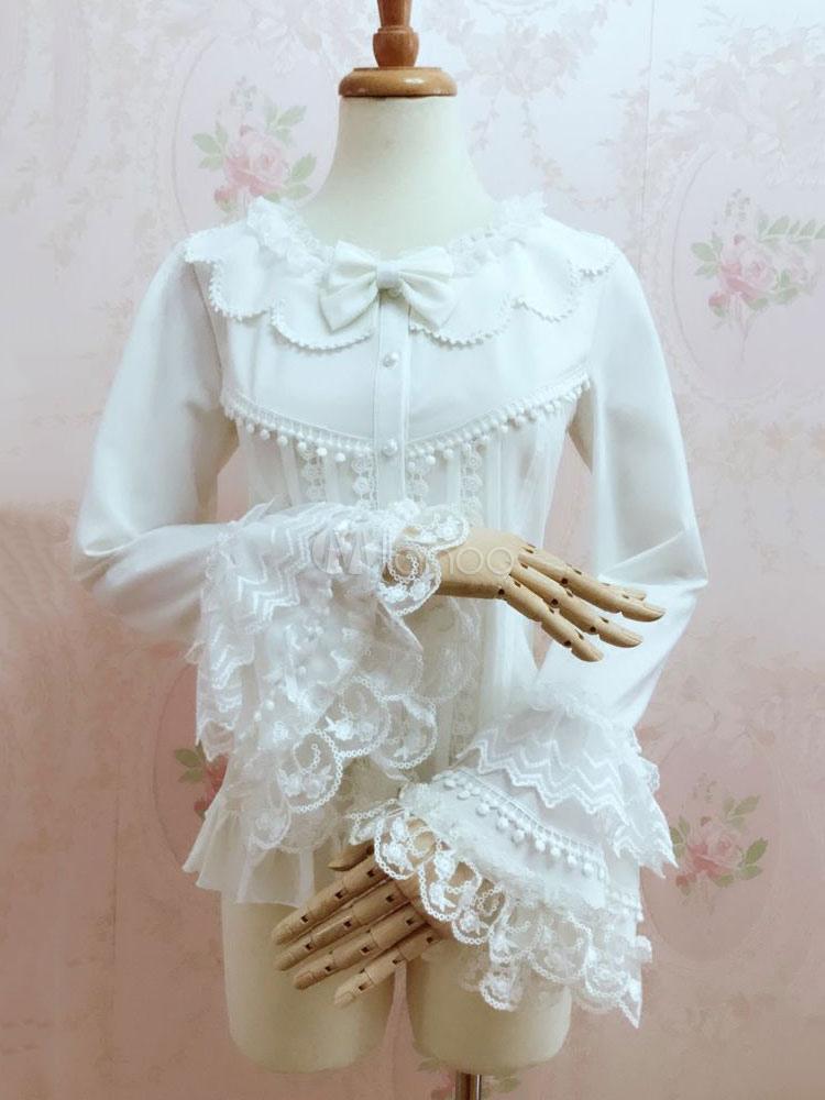 Rococo Lolita Blouses Lace Long Sleeve Chiffon Ruffles Scoop Neck White Lolita Top