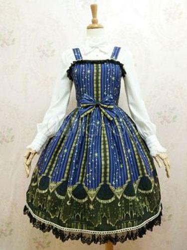 Buy Classic Lolita JSK Jumper Skirt Chiffon Bows Printed Straps Royal Blue Lolita Dresses for $91.79 in Milanoo store