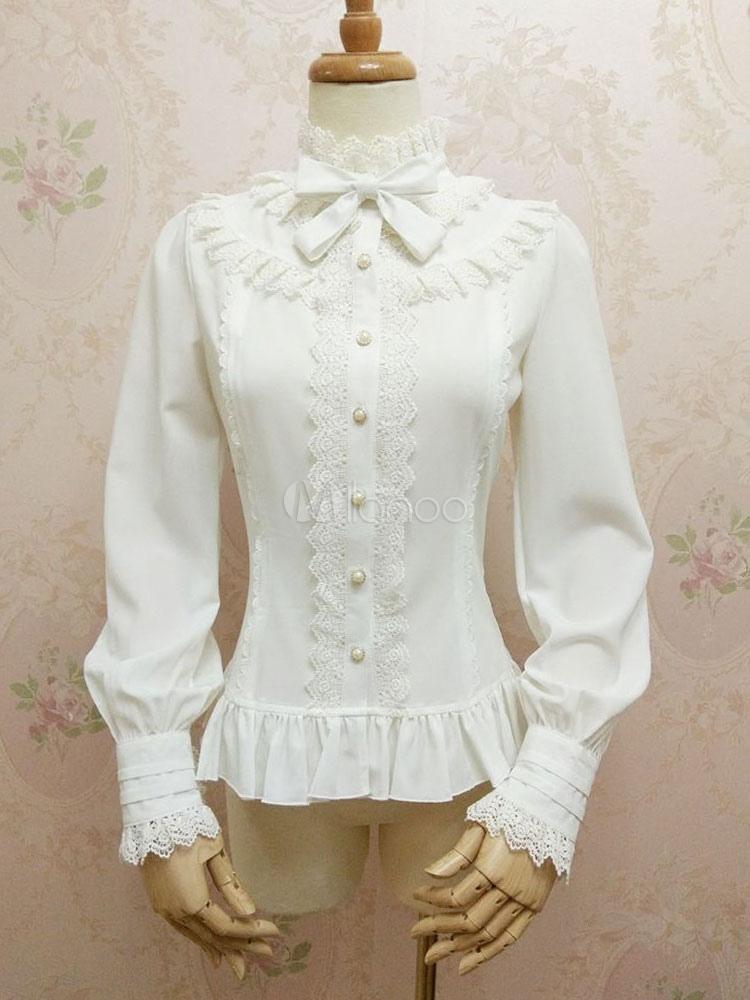 Classic Lolita Blouses Lace Trim Puff Sleeve Chiffon Frills Bows White Lolita Top