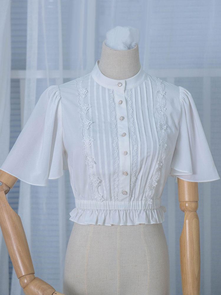 Classic Lolita Blouses Ruffles Bell Sleeve Chiffon Pleated White Lolita Top