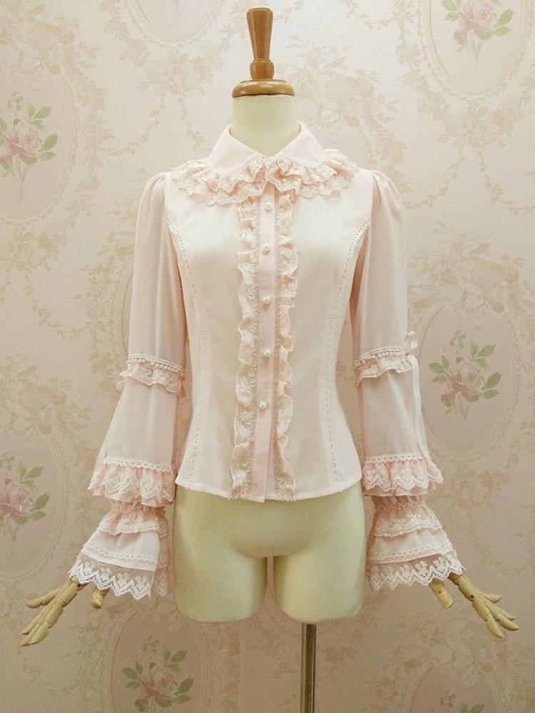 Rococo Lolita Blouses Chiffon Bell Sleeve Ruffles Lace Trim Frills Turndown Collar Soft Pink Lolita Top
