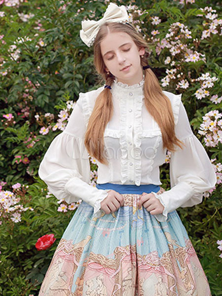 Buy Classic Lolita Skirt Lace Ruffles Chiffon Printed Blue Lolita Bottoms for $122.99 in Milanoo store