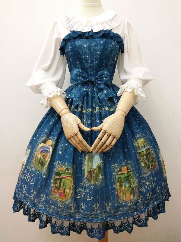 Buy Classic Lolita JSK Jumper Skirt Bows Ruffles Lace Pleated Printed Deep Blue Lolita Dresses for $126.99 in Milanoo store