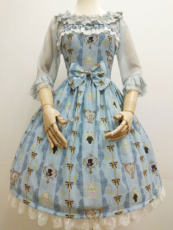 Buy Sweet Lolita JSK Jumper Skirt Ruffles Lace Trim Bows Chiffon Bunny Printed Light Blue Lolita Dresses for $122.99 in Milanoo store