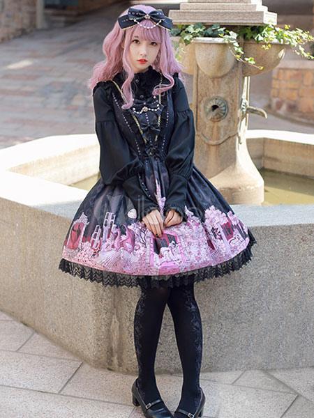 Buy Classic Lolita JSK Jumper Skirt Chiffon Bows Ruffles Fairytale Printed Deep Purple Lolita Dresses for $191.99 in Milanoo store