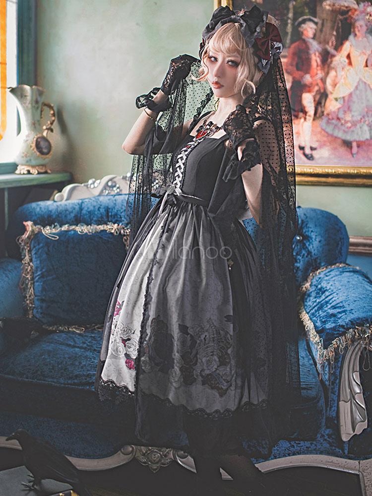 Buy Gothic Lolita Veil Lace Tulle Black Lolita Accessories for $40.99 in Milanoo store