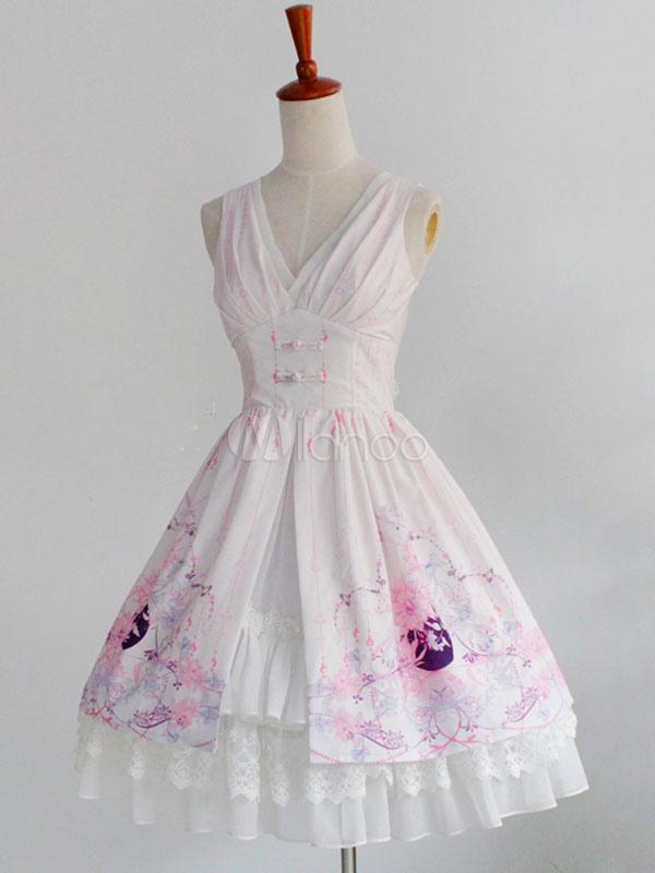Buy Hanfu Lolita JSK Jumper Skirt Chiffon Pleated Ruffles Floral Print Soft Pink Lolita Dresses for $176.39 in Milanoo store
