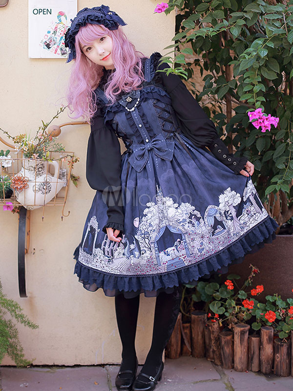Buy Classic Lolita JSK Jumper Skirt Chiffon Straps Fairytale Printed Dark Navy Lolita Dresses for $200.99 in Milanoo store
