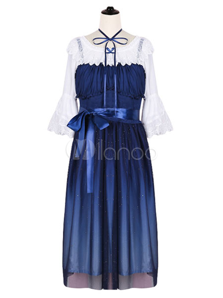 Buy Sweet Lolita JSK Jumper Skirt Chiffon Dark Navy Ombre Sleeveless Straps Pleated Ruffles Lolita Dresses for $55.99 in Milanoo store