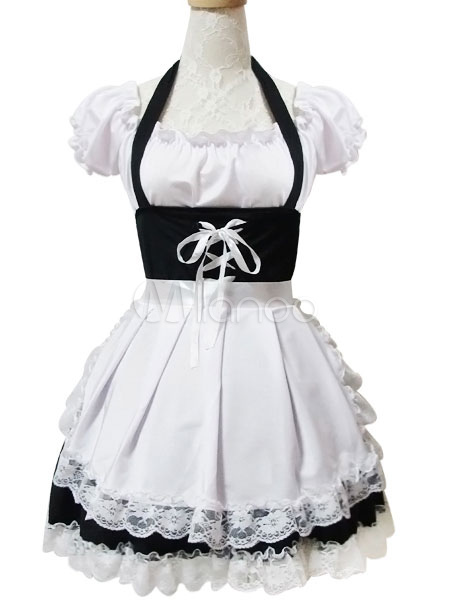Buy Maid Lolita Outfits White Lace Ruffles Short Sleeve Bateau Neck Two Tone OP One Piece Dress With Apron for $34.19 in Milanoo store