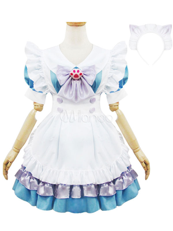 Buy Maid Lolita Outfits Teal Pleated Short Sleeve Peter Pan Collar Ruffles Two Tone OP One Piece Dress With Apron And Bowknot for $35.99 in Milanoo store