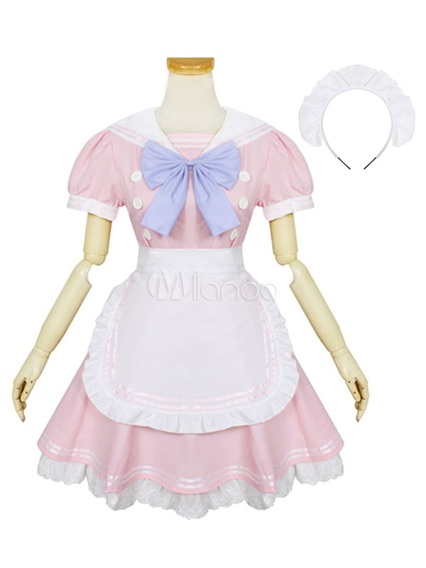 Buy Maid Lolita Outfits Soft Pink Lace Ruffles Sailor Collar Short Sleeve Two Tone Lolita OP One Piece Dress With Apron And Bowknot for $35.99 in Milanoo store