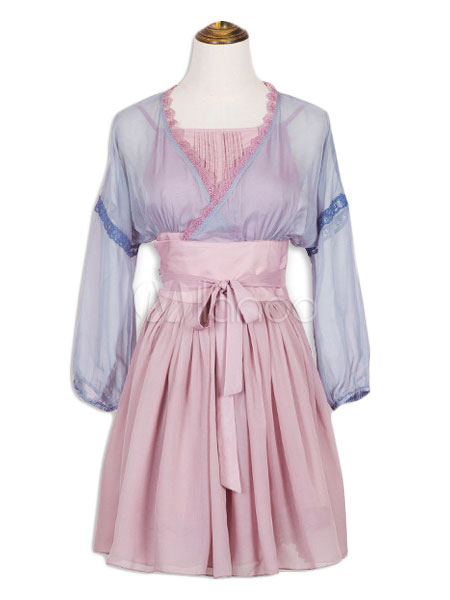 Hanfu Lolita OP One Piece Dress Cameo Pink V Neck Long Sleeve Lace Pleated Two Tone Lolita Dresses