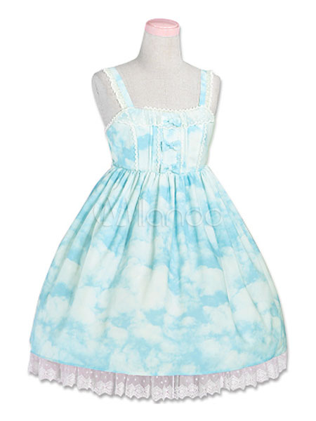 Buy Sweet Lolita JSK Jumper Skirt Chiffon Lace Trim Pleated Straps Printed Light Blue Lolita Dresses for $56.99 in Milanoo store