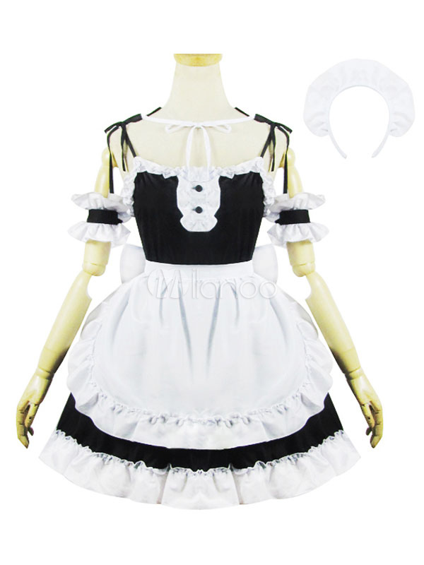 Buy Maid Lolita Outfits Black Pleated Sleeveless Ruffles Two Tone JSK Jumper Skirt Set In 4 Pcs for $48.59 in Milanoo store