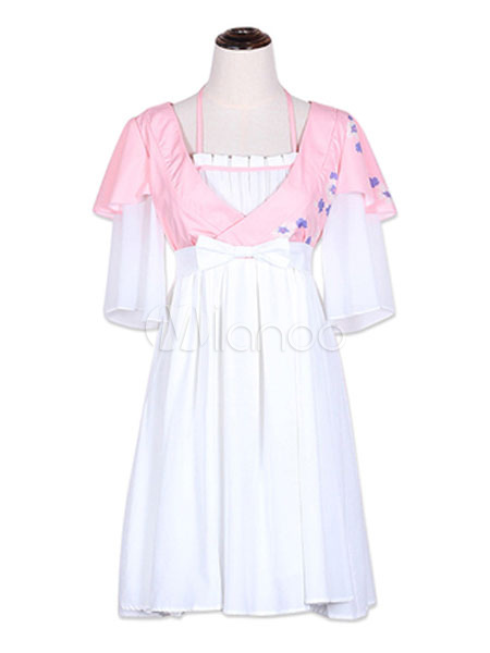 Buy Hanfu Lolita OP One Piece Dress White Chiffon Half Sleeve Pleated Floral Print Lolita Dresses for $51.29 in Milanoo store