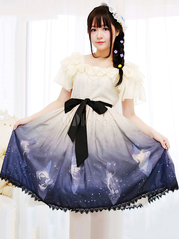 Buy Sweet Lolita OP One Piece Dress Lace Trim Chiffon Bows Square Neck Short Sleeve Light Apricot Ombre Lolita Dresses for $53.99 in Milanoo store