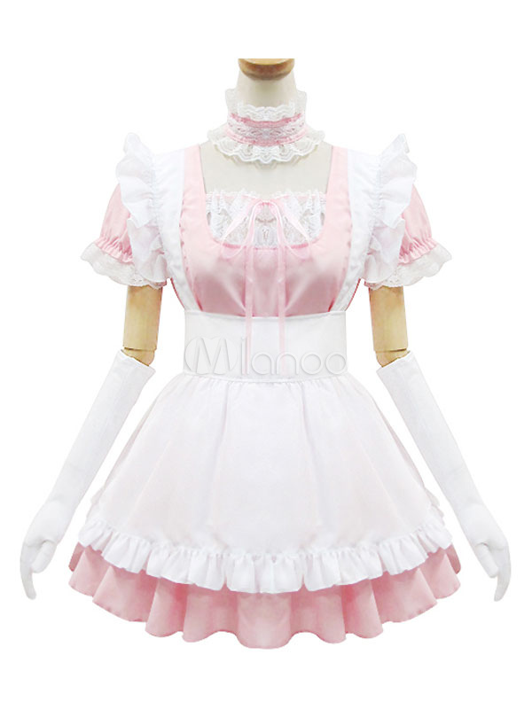 Buy Maid Lolita Outfits Soft Pink Short Sleeve Ruffles Bows OP One Piece Dress Set In 4 Pcs for $35.99 in Milanoo store