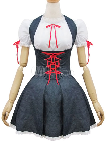 Buy Maid Lolita Outfits Denim Deep Grey Two Tone Lace Up Ruffles Lolita JSK Jumper Skirt With Round Neck Short Sleeve Blouses for $31.99 in Milanoo store