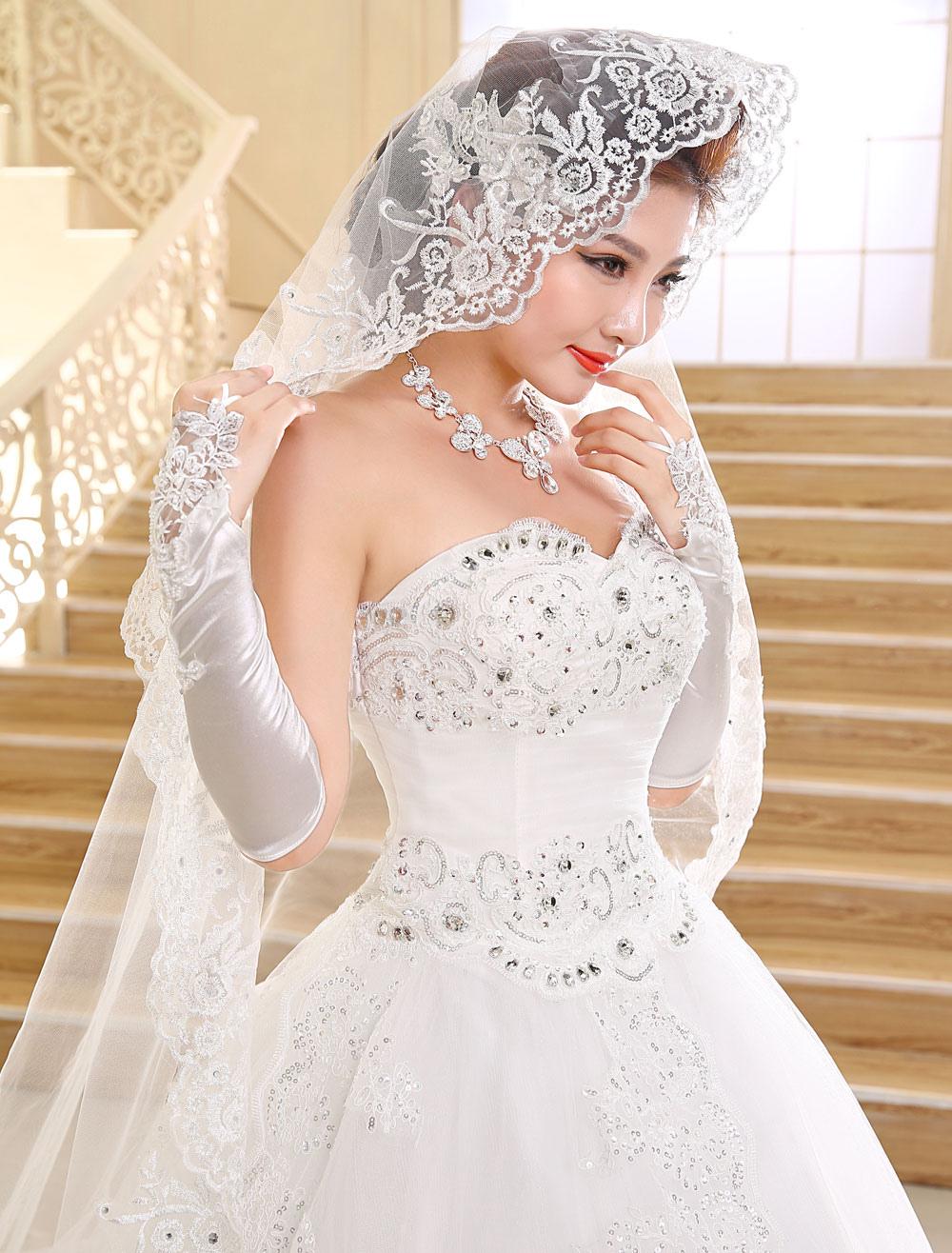 Princess Wedding Dresses Strapless Ball Gown Bridal Dress Lace ...