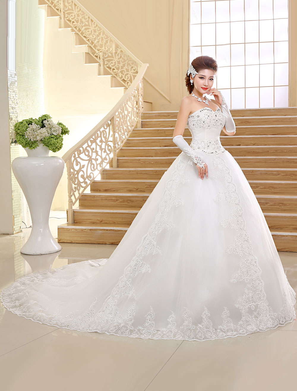 Buy Princess Wedding Dresses Strapless Ball Gown Bridal Dress Lace Applique Sweetheart Neckline Sequins Beading Ivory Long Train Bridal Gown for $159.99 in Milanoo store
